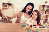 Mother Teaches Daughter. Educational Games. Learning Child At Home. Take Selfie. Child Development.  poster