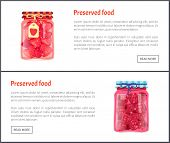Preserved Food Fruits Posters Set With Text Sample. Jars With Strawberries And Raspberries Jam Confi poster