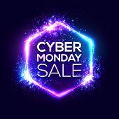 Cyber Monday Sale Background With Neon Light Frame. Hexagon Logo On Dark Blue. 3d Geometric Shape Ve poster