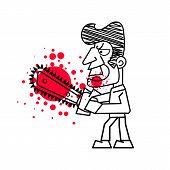 Killer With Bloody Knife In Hand Vector. Isolated Images On White Background. poster