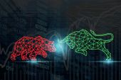 Polygonal Bull And Bear Shape Writing By Lines And Dots Over The Stock Market Chart With Information poster