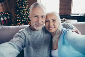 Self-portrait Of Nice Beautiful Charming Lovely Adorable Cheerful Grey-haired Married Couple Husband poster