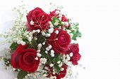 image of red rose  - rose bouquet isolated on white using in wedding or any greeting ceremony side perspective - JPG