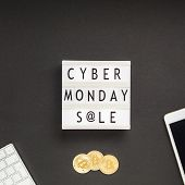 Creative Top View Flat Lay Promotion Composition Cyber Monday Sale Text On Lightbox Black Background poster