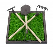 Gardening Tools On A Bed Of Raised Grass