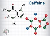 Caffeine Molecule. Structural Chemical Formula And Molecule Model. Sheet Of Paper In A Cage. Vector  poster