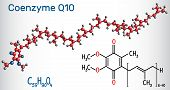 Coenzyme Q10 (ubiquinone, Ubidecarenone, Coenzyme Q, Coq10) Molecule. It Is Cofactor  With Antioxida poster