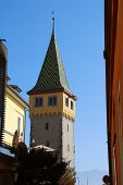 Harbour Of Lindau, Lake Constance (german: Bodensee): The Top Of The Tower Mangturm. The Mangturm To poster