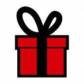 Gift Box Icon Vector,  Gift Box Icon Modern, Gift Box Image, Gift Box Icon Vector Isolated Flat Red  poster