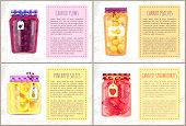 Canned Pineapple Slices And Plums Peaches And Strawberries. Preserved Food In Glass Jars With Emblem poster