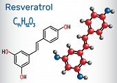 Resveratrol Molecule. It Is Natural Phenol, Phytoalexin, Antioxidant. Structural Chemical Formula An poster