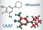 Minoxidil Molecule. It Is An Antihypertensive Vasodilator Medication, Is Used To Treat Hair Loss.. S poster