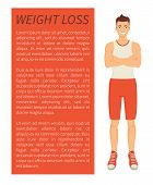 Weight Loss Man Poster And Text Sample. Person With Strong Body Smiling, Bodybuilder With Slender Fi poster