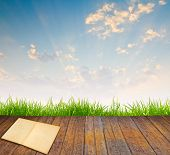 Old book on wood floor with green grass and sunset