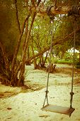 Seesaw on tree on tropical beach  in vintage style