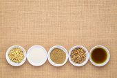 collection of hemp seed products: hearts, protein powder, milk and oil in small white bowls agaionst poster