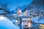 Beautiful Twilight View Of Sankt Sebastian Pilgrimage Church With Decorated Christmas Tree Illuminat poster