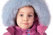 Portrait Of Little Girl In Furry Hat poster