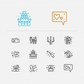 Romance Icons Set. Love Location And Romance Icons With Love Message, Proposal Ring And Serenade. Se poster