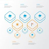 Climate Icons Flat Style Set With Snowy, Rain-snow, Rainy And Other Hailstones Elements. Isolated  I poster