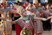 PHAYAO, THAILAND - MARCH 05: Thai dancer  perform Thai dance  during festival in honor  to Phayao founder King Ngam Muang  March 05,  2011 in Phayao, Thailand.