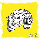 Hand Drawn Offroad 4x4 Car In Creative Doodle Style. Off-road Adventure Element In Black Color Usefu poster