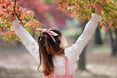 japanese girl in sweet lolita cosplay style in autumn scenery, Tokyo, Japan