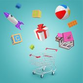 3d Rendering Of Random Objects - Shopping Cart, House, Toy Ball, Rocket, Present, Toy Bricks And Leg poster