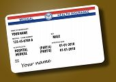 Here is a mock federal government Medicare Health Insurance card isolated on the background. poster