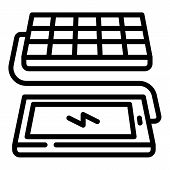 Solar Panel Phone Charging Icon. Outline Solar Panel Phone Charging Vector Icon For Web Design Isola poster