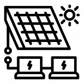 Solar Panel Energy Solution Icon. Outline Solar Panel Energy Solution Vector Icon For Web Design Iso poster