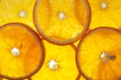 bright orange background from slices of juicy oranges