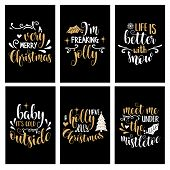 Hand Lettering Christmas Card Collection With Joyful Quotes poster