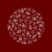 Vector Decorative Round From White Christmas Symbols On Red Background - Candy Cane, Tree Ball, Mitt poster