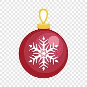 Red Fir Tree Ball Icon. Flat Illustration Of Red Fir Tree Ball Vector Icon For Web Design poster