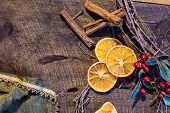 Healthy Holiday Christmas Flat Lay Of Traditional Dried Orange Slices, Cranberry And Grape Vine Wrea poster