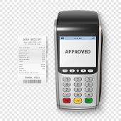 Vector Realistic Silver 3d Payment Machine. Pos Terminal With Receipt Closeup Isolated. Design Templ poster
