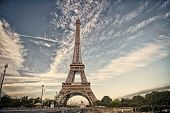 Eiffel Tower In Paris On Beautiful Autumn Evening. Eifel Tower Is The Symbol Of Paris Romantic And L poster