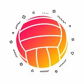 Volleyball Sign Icon. Beach Sport Symbol. Colorful Geometric Shapes. Gradient Volleyball Icon Design poster