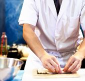Chef Hands Preparing Japanese Food, Chef Making Sushi, Preparing Sushi Roll poster