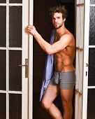 Man Lover Near Door. Sexy Bachelor Lover Concept. That Was Great Night. Guy Attractive Lover Posing  poster
