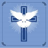 Vector Illustration Of Christian Cross And Radial Light With Flying White Dove Representing The Conc poster