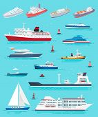 Water Transport Different Kinds Of Ships And Vessels Vector. Cruise Liner, Yacht And Sailing Boat, C poster