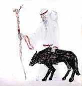 A Blind Old Man With A White Crow On His Shoulders And A Staff Goes With A Black Wolf. Wolf Guide. poster