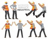 Worker Service Industrial Construction Cartoon Vector Character Acting Design Art Illustration, Isol poster