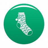 Sock With Pompon Icon. Simple Illustration Of Sock With Pompon Vector Icon For Any Design Green poster