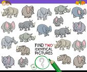 Cartoon Illustration Of Finding Two Identical Pictures Educational Game For Kids With Elephants And  poster