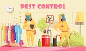 Pest Control Illustration With Human Characters Of Disinfectors In Chemical Suits Performing Disinfe poster