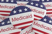 Usa Politics News Badges: Pile Of Medicaid Buttons With Us Flag, 3d Illustration poster