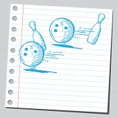 picture of bowling ball  - Hand drawn bowling balls and pins - JPG